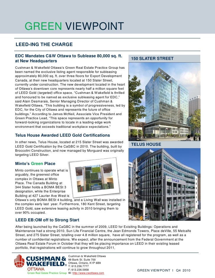 GREEN VIEWPOINTLEED-ING THE CHARGEEDC Mandates C&W Ottawa to Sublease 80,000 sq. ft.                                      ...