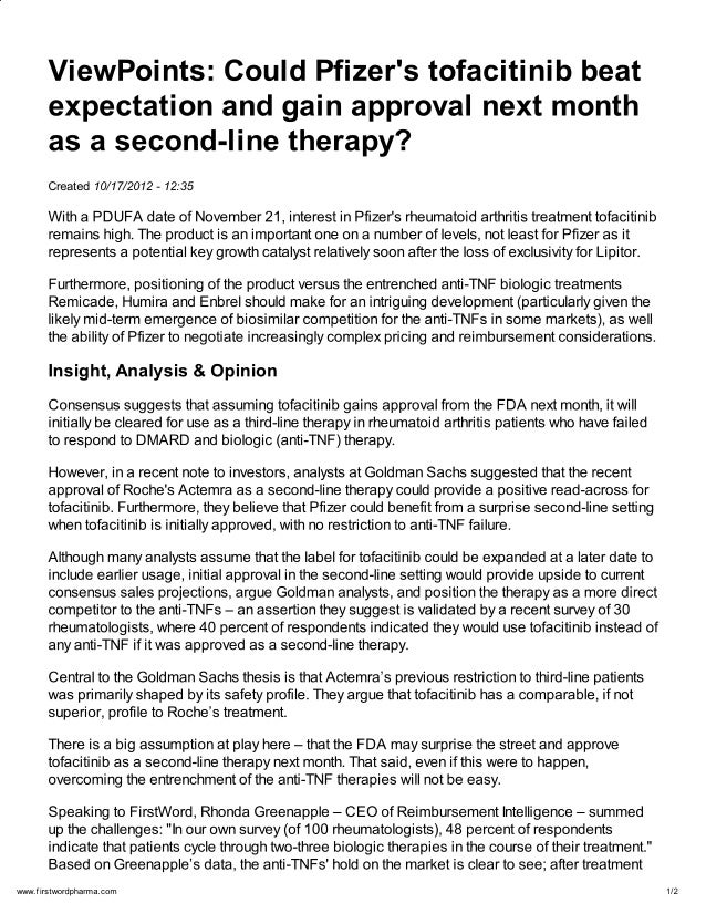 View Points:  Could Pfizer\'s tofacitinib beat expectation and gain approval next month as a second-line therapy?