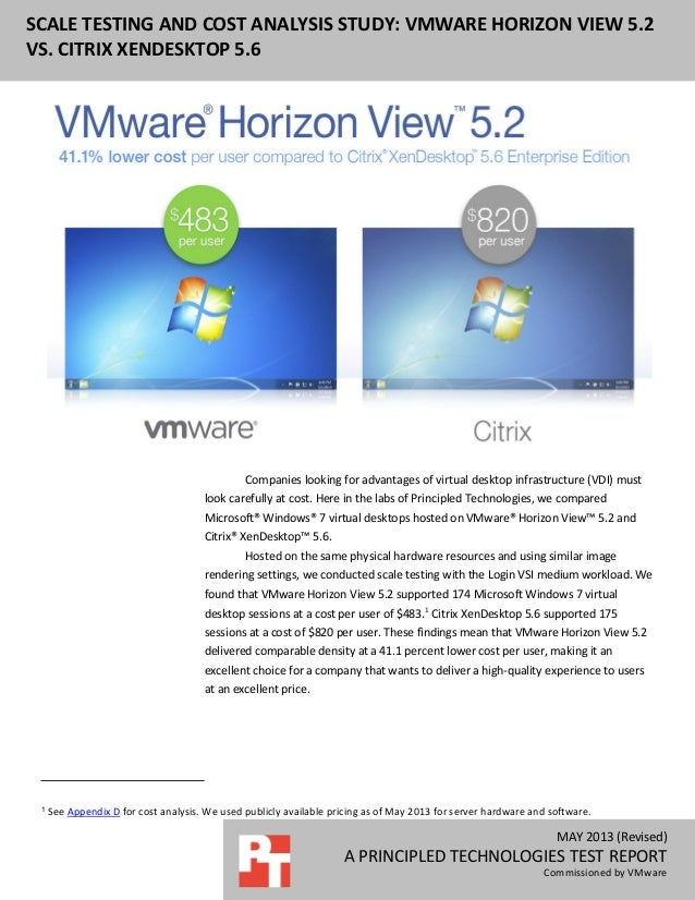 MAY 2013 (Revised) A PRINCIPLED TECHNOLOGIES TEST REPORT Commissioned by VMware SCALE TESTING AND COST ANALYSIS STUDY: VMW...