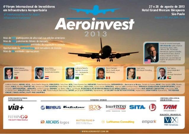 www.aeroinvest.com.br 4o Fórum Internacional de Investidores em Infraestrutura Aeroportuária 4th International Forum for A...