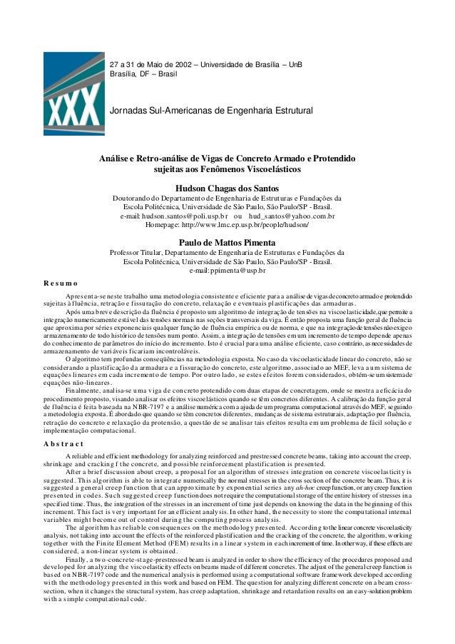 27 a 31 de Maio de 2002 – Universidade de Brasília – UnB Brasília, DF – Brasil Jornadas Sul-Americanas de Engenharia Estru...