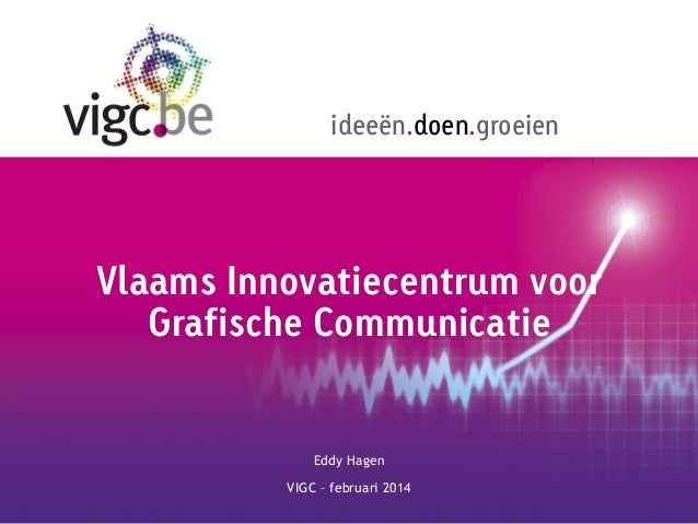 ideeën.doen.groeien  Vlaams Innovatiecentrum voor Grafische Communicatie  Eddy Hagen VIGC – februari 2014