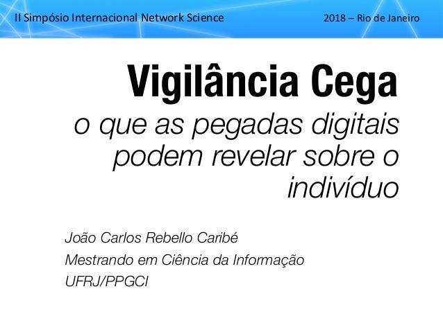 """II""""Simpósio""""Internacional""""Network""""Science 2018""""– Rio""""de""""Janeiro Vigilância Cega João Carlos Rebello Caribé Mestrando em Ci..."""