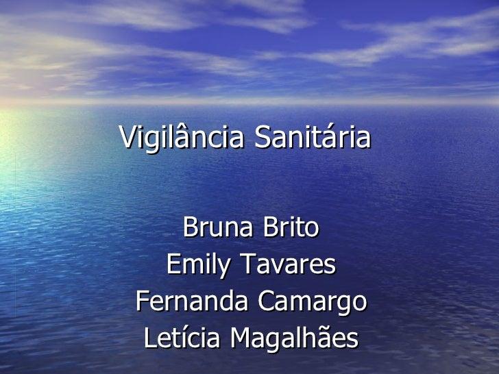 Vigilância Sanitária Bruna Brito Emily Tavares Fernanda Camargo Letícia Magalhães