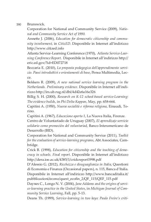 190 Brunswick. Corporation for National and Community Service (2009), Natio- nal and Community Service Act of 1990. Annett...