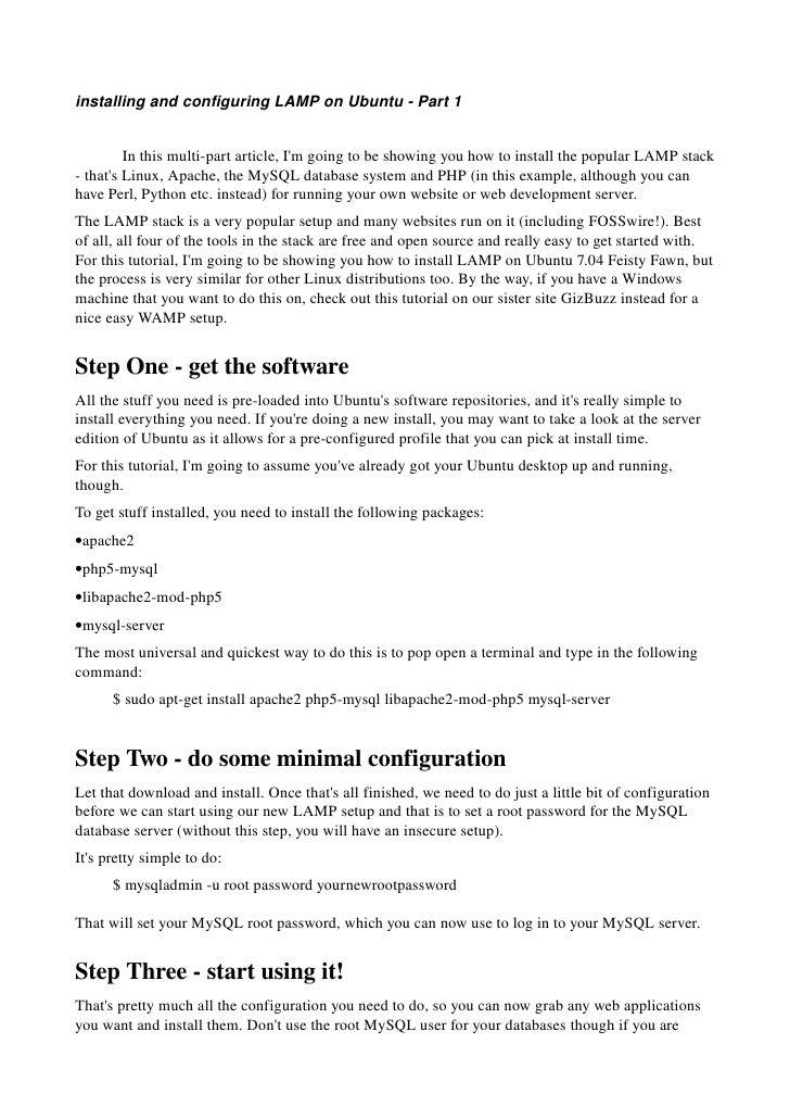installingandconfiguringLAMPonUbuntuPart1            Inthismultipartarticle,I'mgoingtobeshowingyouhow...