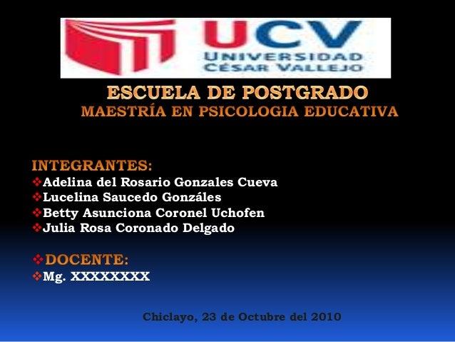 Adelina del Rosario Gonzales Cueva  Lucelina Saucedo Gonzáles  Betty Asunciona Coronel Uchofen  Julia Rosa Coronado De...