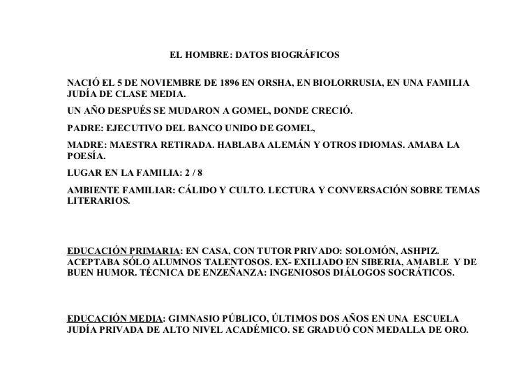 EL HOMBRE: DATOS BIOGRÁFICOS  EDUCACIÓN PRIMARIA : EN CASA, CON TUTOR PRIVADO: SOLOMÓN, ASHPIZ. ACEPTABA SÓLO ALUMNOS TALE...