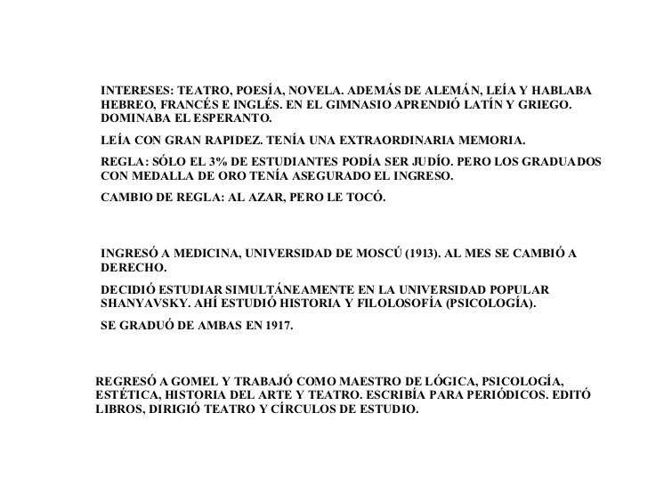 INGRESÓ A MEDICINA, UNIVERSIDAD DE MOSCÚ (1913). AL MES SE CAMBIÓ A DERECHO. DECIDIÓ ESTUDIAR SIMULTÁNEAMENTE EN LA UNIVER...