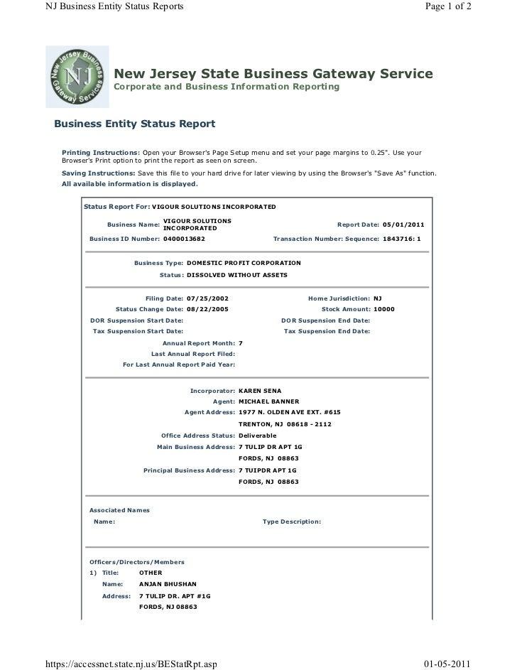 vigour incorporated status