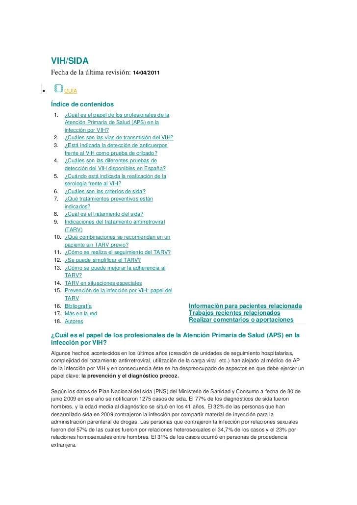 VIH/SIDAFecha de la última revisión: 14/04/2011       GUÍAÍndice de contenidos 1.    ¿Cuál es el papel de los profesionale...
