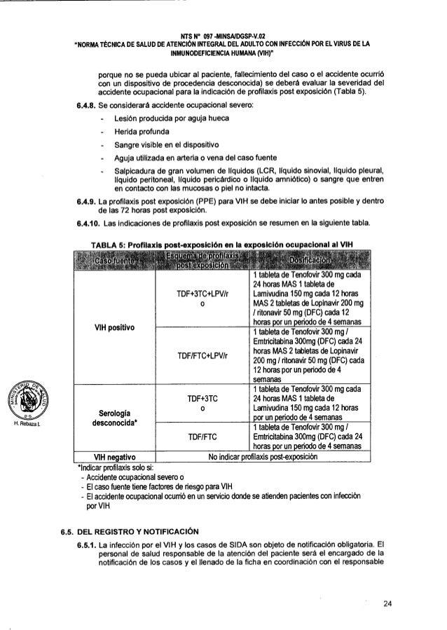 Norma tecnica del adulto con infeccion del virus de la inmunideficien - Liquido preseminal vih casos ...