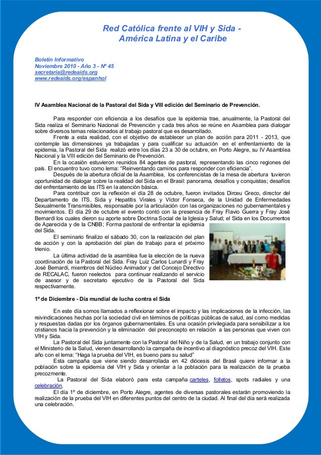 Red Católica frente al VIH y Sida - América Latina y el Caribe Boletín Informativo Noviembre 2010 - Año 3 - Nº 45 secretar...