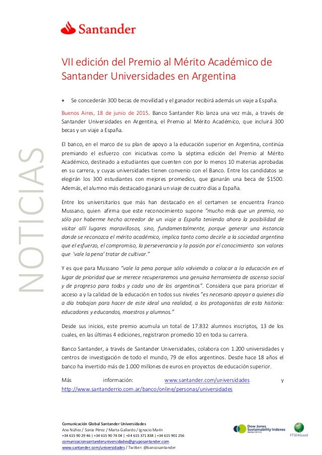 NOTICIAS VII edición del Premio al Mérito Académico de Santander Universidades en Argentina • Se concederán 300 becas de m...