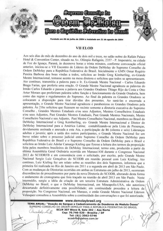 Ata do VII Encontro de Líderes da Ordem DeMolay (ELOD) - Foz do Iguaçu 2013