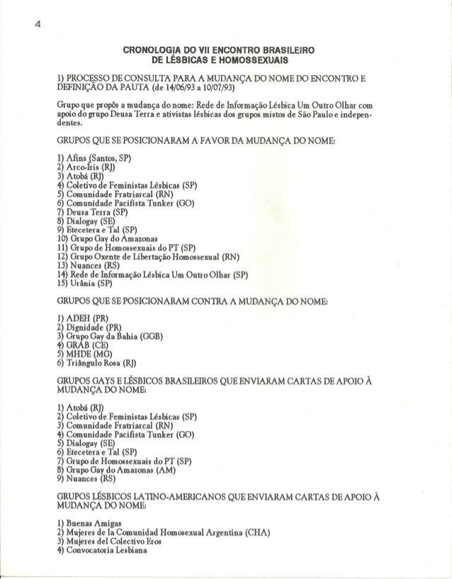 CRONOLOGIA DO Vll ENCONTRO BRASILEIRO DE LÉSBICAS E HOMOSSEXUAIS  1) PROCESSO DE CONSULTA PARA A MUDANÇA DO NOME DO ENCONT...