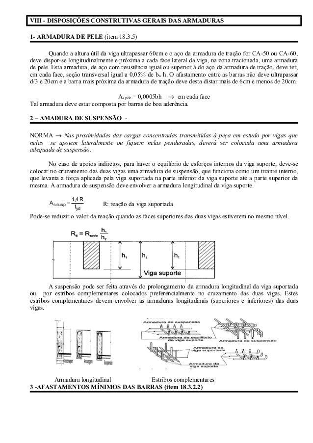 VIII - DISPOSIÇÕES CONSTRUTIVAS GERAIS DAS ARMADURAS 1- ARMADURA DE PELE (item 18.3.5) Quando a altura útil da viga ultrap...
