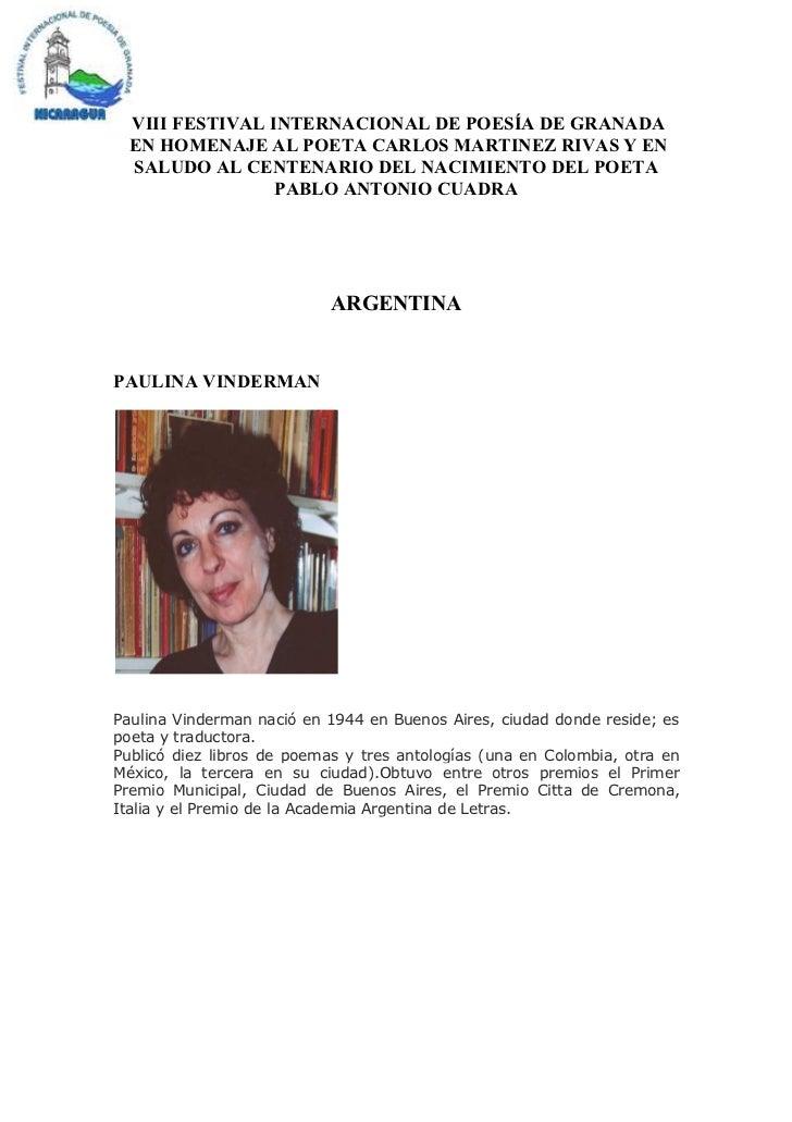 VIII FESTIVAL INTERNACIONAL DE POESÍA DE GRANADA  EN HOMENAJE AL POETA CARLOS MARTINEZ RIVAS Y EN  SALUDO AL CENTENARIO DE...