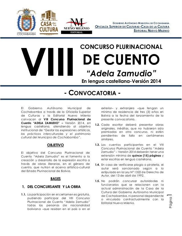 """VIII Concurso Plurinacional de Cuento """"Adela Zamudio"""" En lengua castellana – Versión 2014 Página1 CONCURSO PLURINACIONAL D..."""
