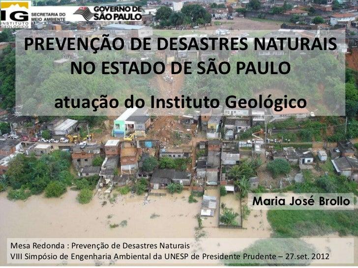 PREVENÇÃO DE DESASTRES NATURAIS       NO ESTADO DE SÃO PAULO           atuação do Instituto Geológico                     ...