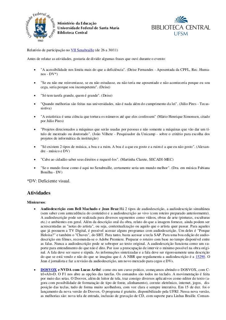 Ministério da Educação                    Universidade Federal de Santa Maria                            BIBLIOTECA CENTRA...