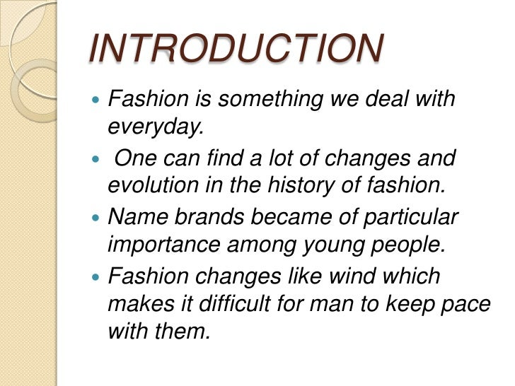 Fashion Paper Topics