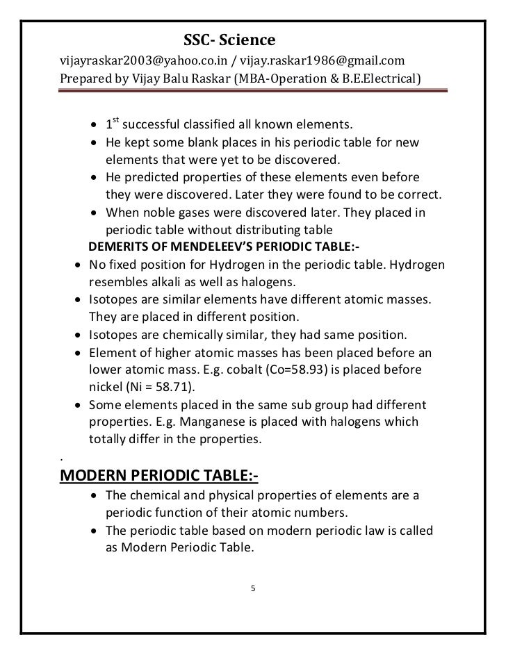 Periodic Table 10th element on the periodic table : Vijay Balu Raskar-final-ssc-science-notes