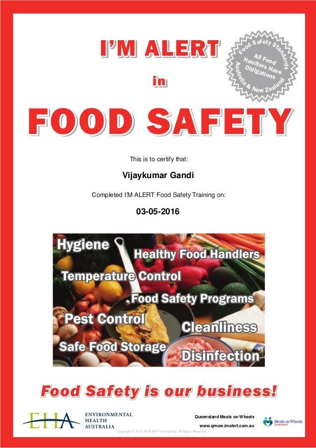 I M Alert Food Safety