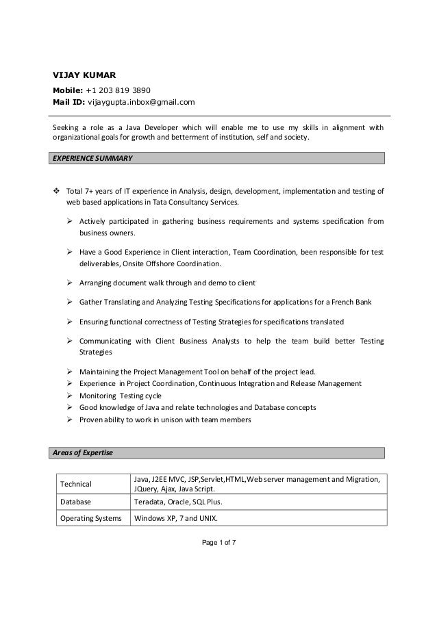 vijay kumar java developer resume