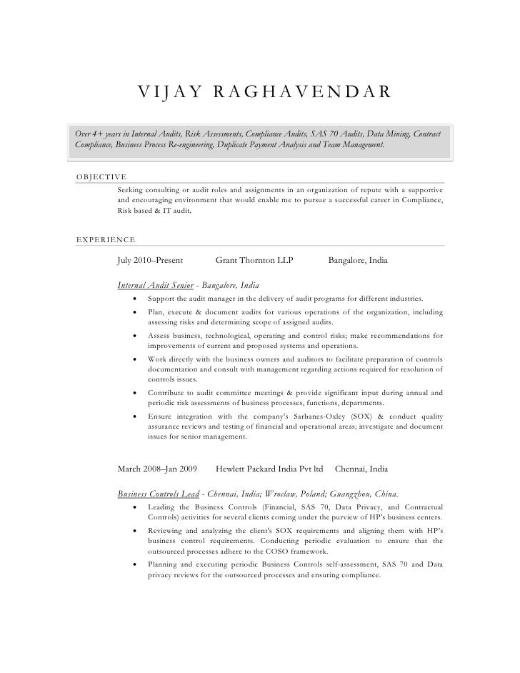 vijay raghavendarover 4 years in internal audits risk assessments compliance audits