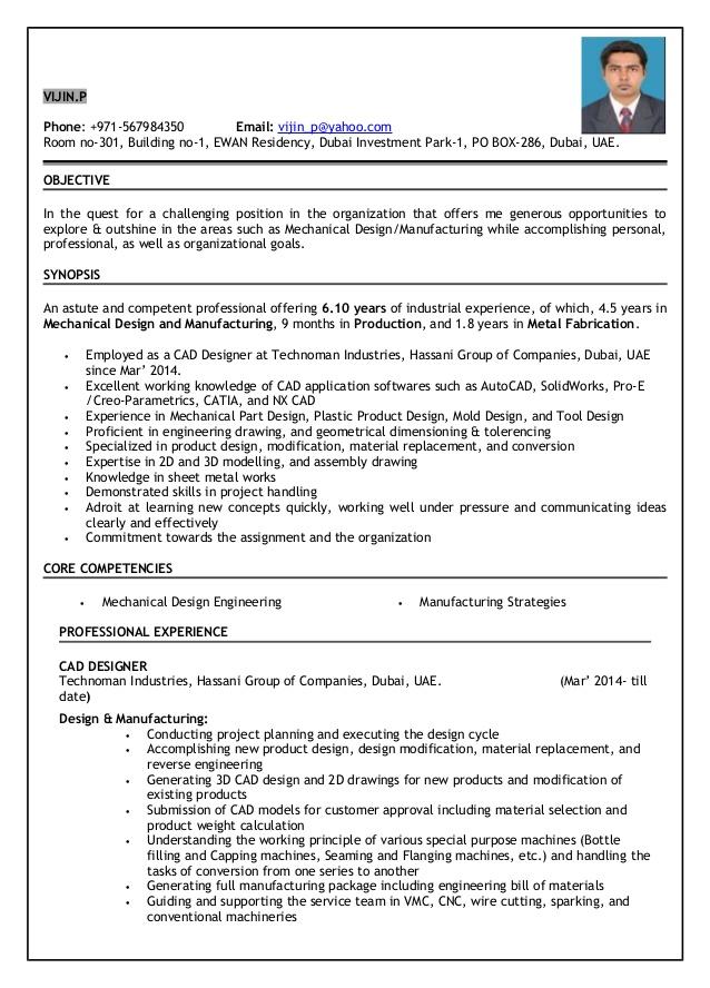 resume mechanical design engineer 6 10 years experience