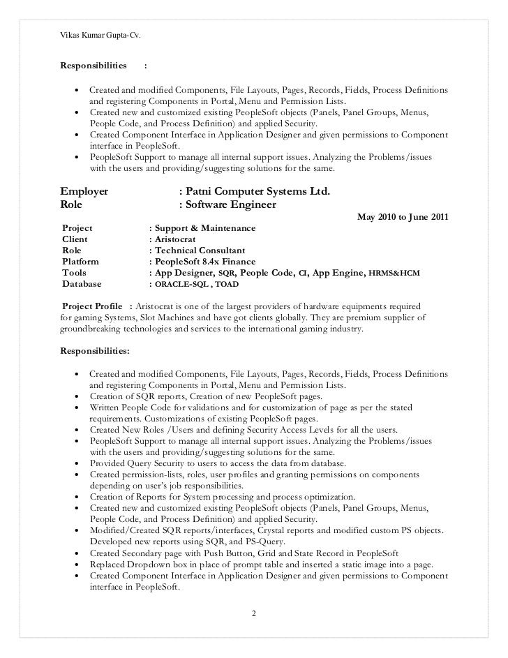 vikas kumar gupta_cv peoplesoft - People Soft Consultant Resume