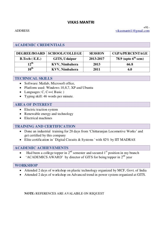 gmail cv template resume freshers address 1gmail academic credentials degree board