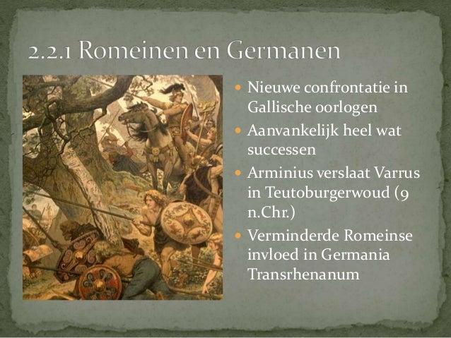  Germanen dienen  massaal in het Romeinse  leger   Bvb: generaal Stilicho  (zoon van een Vandaalse  soldaat) verdedigt e...