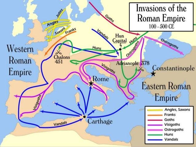  Oudjaarsnacht 406 wordt  bevroren Rijn overgestoken   Trekken al plunderend  door Gallië   Vandalan vestigen zich in  ...