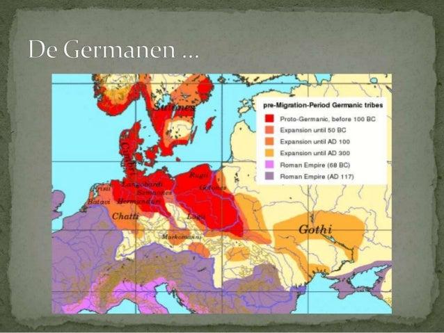 2.2.1 Romeinen en  Germanen  2.2.2 De Germaanse  volksverhuizingen  2.2.3 De Merovingers  2.2.4 De Karolingen  2.2.5 Onder...