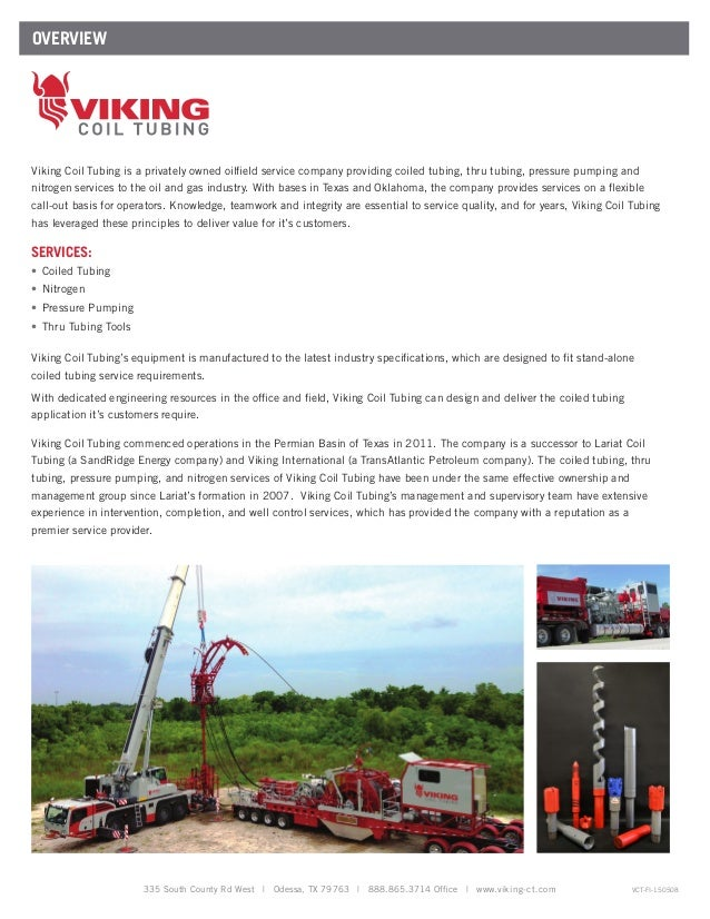 Coiled Tubing Services Texas : Viking coil tubing company information
