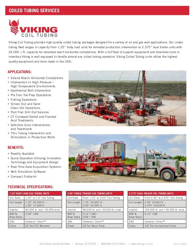 Coil Tubing Units For Oil And Gas Operations : Viking coil tubing company information