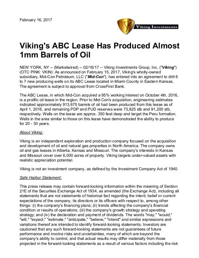 Vikings Abc Lease Has Produced Almost 1 Mm Barrels Of Oil