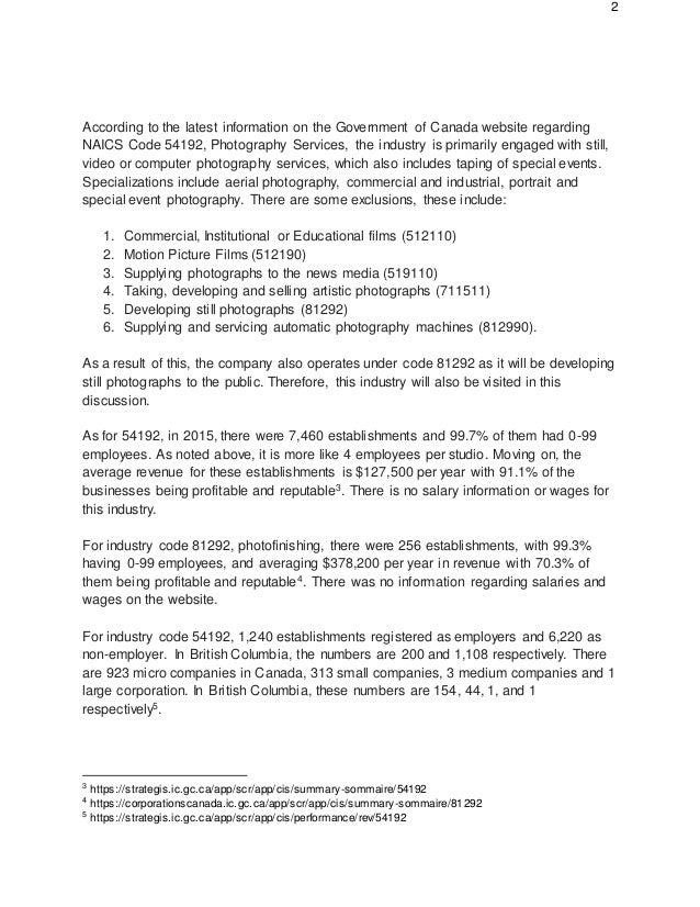 Photography Industry Canada NAICS Code 54192 Slide 2