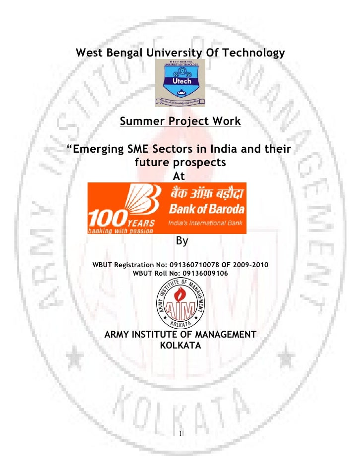 """West Bengal University Of Technology           Summer Project Work""""Emerging SME Sectors in India and their           futur..."""