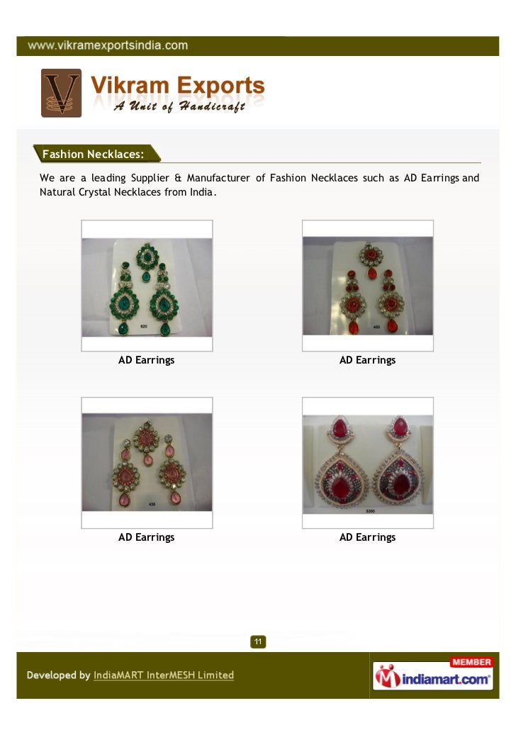 Fashion Necklaces:We are a leading Supplier & Manufacturer of Fashion Necklaces such as AD Earrings andNatural Crystal Nec...
