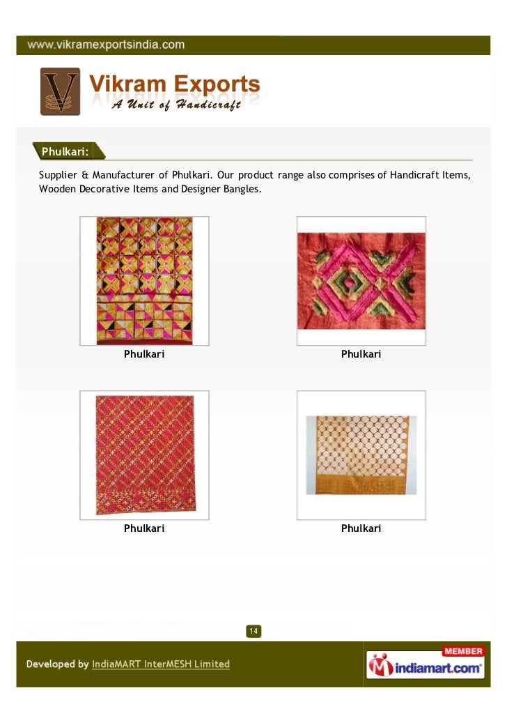 Phulkari:Supplier & Manufacturer of Phulkari. Our product range also comprises of Handicraft Items,Wooden Decorative Items...