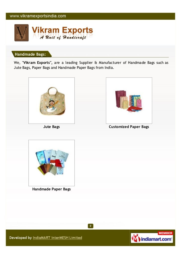 """Handmade Bags:We, """"Vikram Exports"""", are a leading Supplier & Manufacturer of Handmade Bags such asJute Bags, Paper Bags an..."""