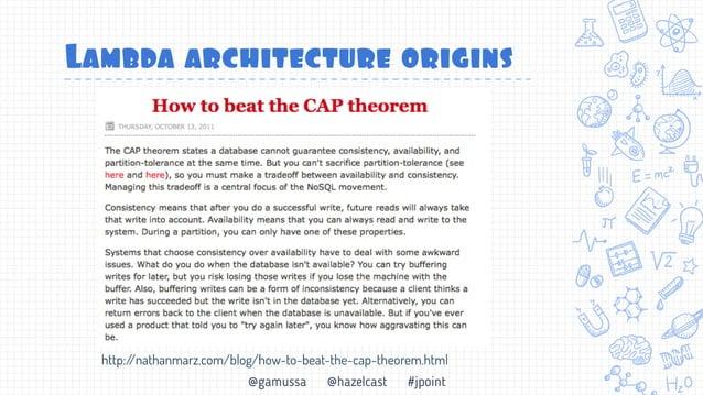 @gamussa @hazelcast #jpoint Пакетньый процесс http://nathanmarz.com/blog/how-to-beat-the-cap-theorem.html
