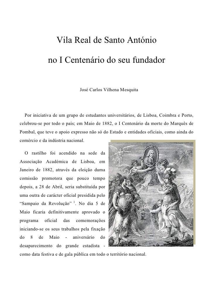 Vila Real de Santo António                    no I Centenário do seu fundador                                       José C...