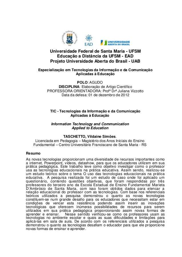 Universidade Federal de Santa Maria - UFSMEducação a Distância da UFSM - EADProjeto Universidade Aberta do Brasil - UABEsp...