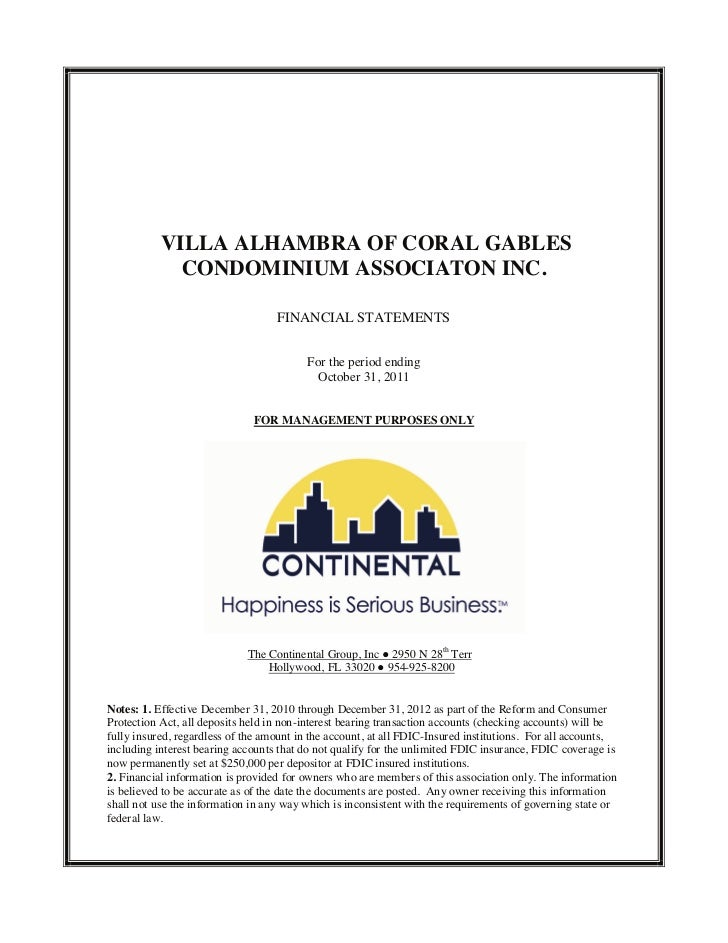 VILLA ALHAMBRA OF CORAL GABLES             CONDOMINIUM ASSOCIATON INC.                                   FINANCIAL STATEME...