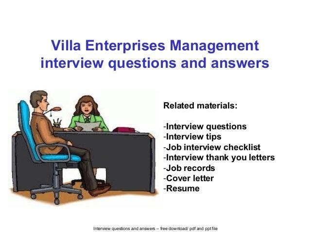Villa enterprises management interview questions and answers