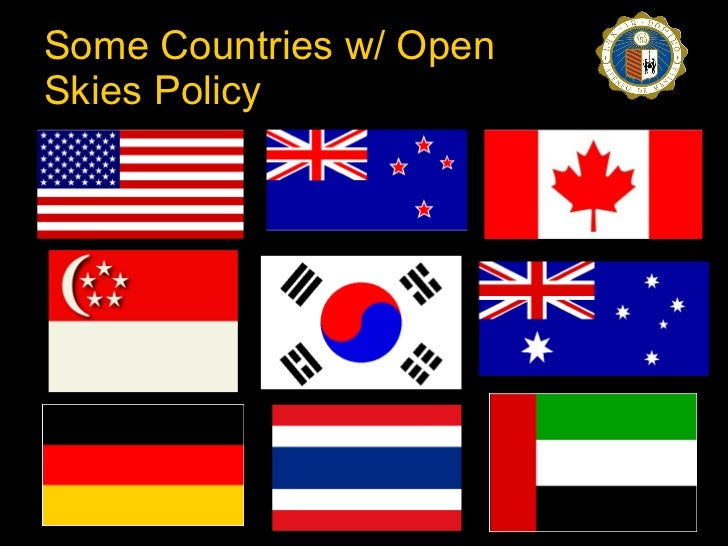 """open skies is an international policy Through air service agreements,  the department has pursued an """"open-skies"""" policy designed to  and pricing in international markets open-skies agreements."""